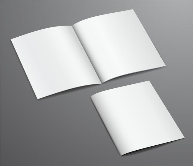 Revista de folleto cerrado y abierto blanco en blanco, aislado sobre fondo oscuro