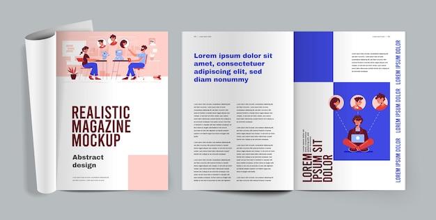 Revista de ilustración realista con páginas abiertas con artículos.