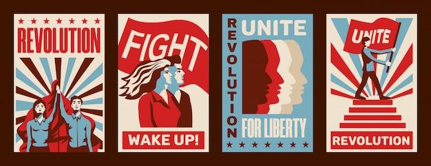 Revolución 4 promocionando carteles constructivistas con convocatorias de huelga lucha unidad libertad vintage aislado