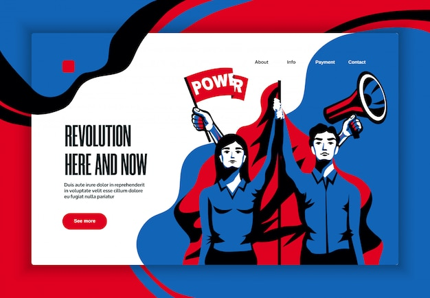 Revolución aquí ahora lema diseño de estilo vintage de banner de sitio web con símbolo de concepto de poder en la unidad