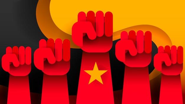 Revolución levantó manos arriba vector