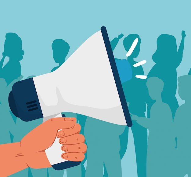 Revolución, mano con megáfono, lucha por tu derecho