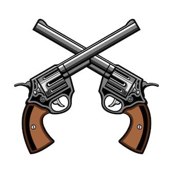 Revólver de dos pistolas cruz logo ilustración vectorial