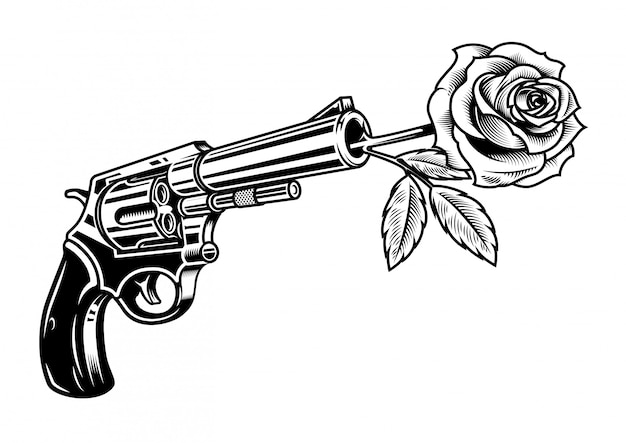Revólver con rosa