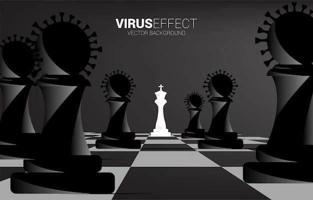 Rey ajedrez alrededor con pieza de ajedrez de virus. concepto de efecto corona empresarial del virus