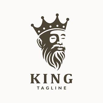 Rey barbudo anciano griego con logo de corona.