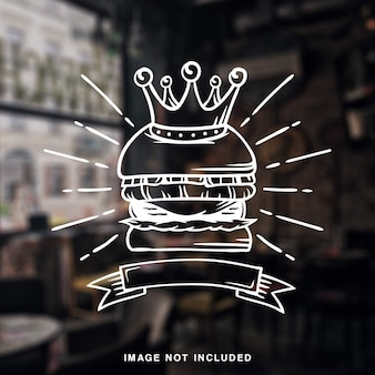 Rey burger grill ilustración vintage con línea blanca