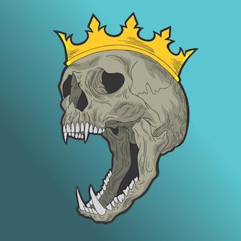 Rey de calavera. vector de estilo dibujado a mano ilustraciones de diseño doodle.