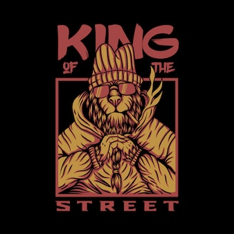 Rey de la calle león vector diseño