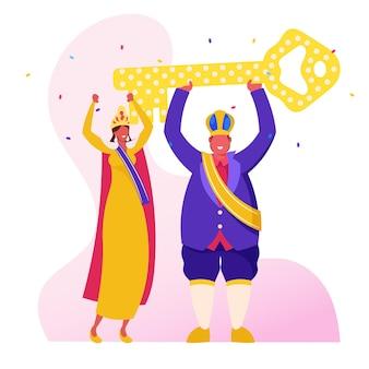 Rey del carnaval de río con vestimenta real festiva y corona sosteniendo una enorme llave dorada sobre la cabeza, ilustración plana de dibujos animados