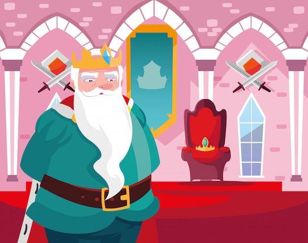 Rey en el castillo de cuento de hadas con decoración