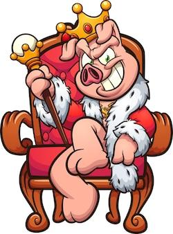 Rey cerdo con sonrisa malvada sentado en el trono