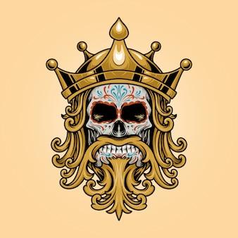 Rey corona cráneo dia de los muertos logotipo oro ilustraciones