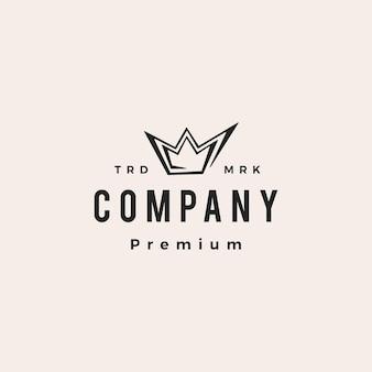Rey corona hipster vintage logo vector icono ilustración