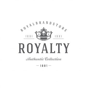 Rey corona plantilla emblema con tipografía.