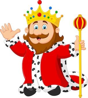 Rey de dibujos animados sosteniendo un cetro de oro