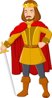 Rey de dibujos animados sosteniendo una espada