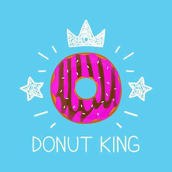 Rey donut concepto de dibujos animados plana y doodle ilustración. icono de corona y estrellas