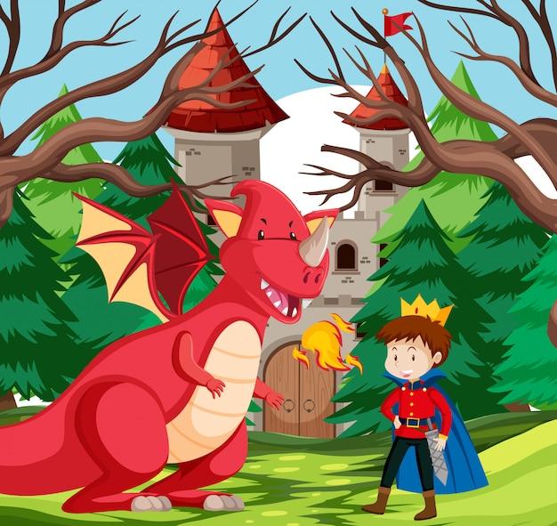 Un rey y un dragón en el castillo.