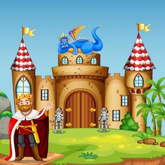 Un rey drigon en el castillo.