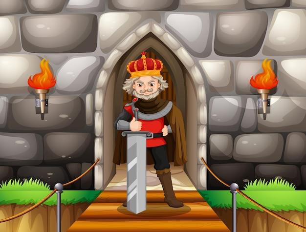 Rey con gran espada en el palacio