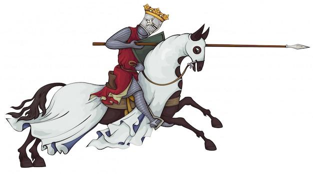 Rey. jinete con armadura de malla a caballo.