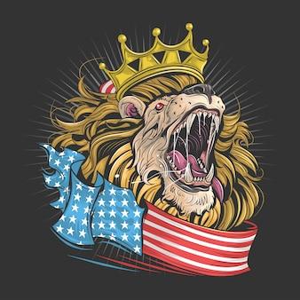 Rey león de américa con ilustraciones de la bandera de estados unidos