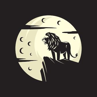 Rey león animal bajo la luna noche y día oscuro