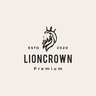 Rey león corona hipster vintage logo icono ilustración