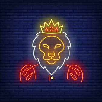 Rey león letrero de neón