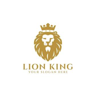 Rey león con mascota de logo de corona