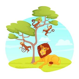 Rey león relajante bajo un árbol con monos saltarines