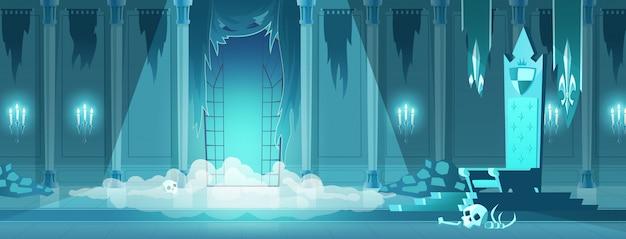 Rey malvado castillo trono sala de dibujos animados