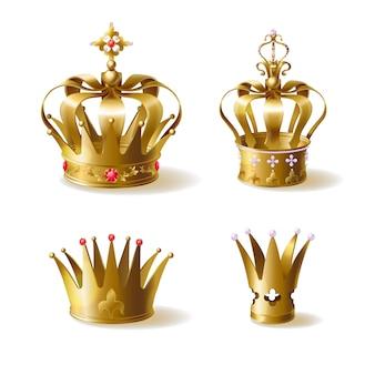Rey o reina de coronas doradas decoradas con preciosas gemas.