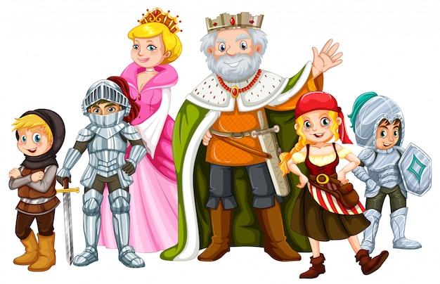 Rey y otros personajes de cuento de hadas.
