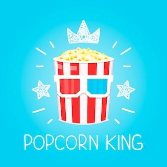 Rey palomitas de maíz para cine dibujos animados plana y doodle ilustración. icono de corona y estrellas