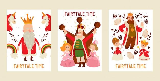 Rey personaje de dibujos animados príncipe hombre en oro corona real y persona monarca medieval en realeza traje ilustración telón de fondo conjunto de cuento de hadas princesa niñas fondo