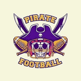 Rey pirata de fútbol americano logo con estilo retro
