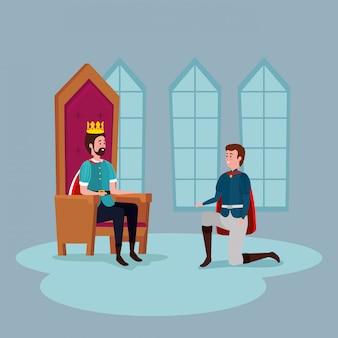 Rey con el príncipe en el castillo interior