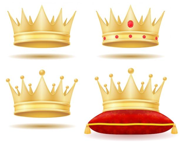 Rey real corona dorada ilustración vectorial