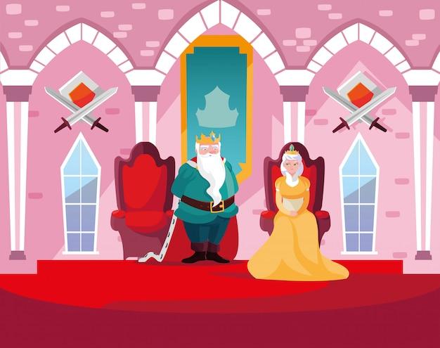 Rey y reina en el castillo de cuento de hadas