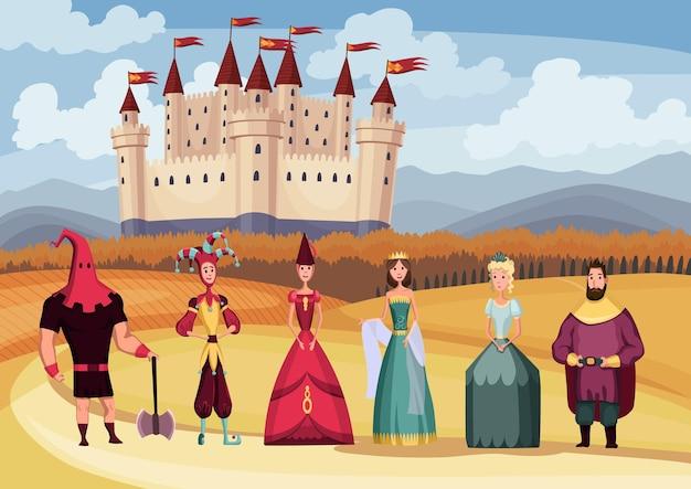 Rey y reina medieval, bufón, verdugo sobre fondo de castillo medieval de cuento de hadas. periodo histórico de la edad media de dibujos animados. personajes del reino medieval en disfraces.