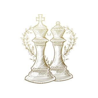 Rey y reina, piezas de ajedrez de lujo grabado en oro con decoración floral