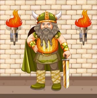 Rey vikingo con espada de oro