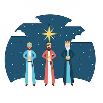 Reyes magos rey epifanía en la noche.