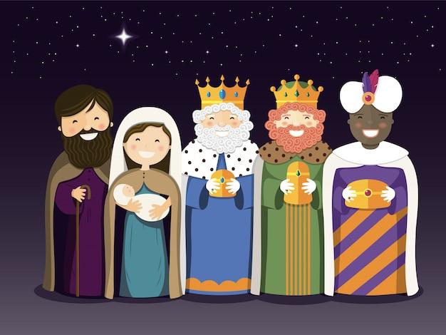 Los reyes magos y la sagrada familia en el día de la epifanía