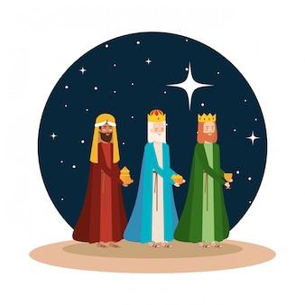 Reyes sabios pesebre en escena nocturna del desierto