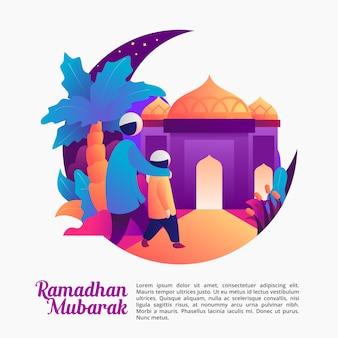 Reza en la mezquita con papá en la noche de ramadán