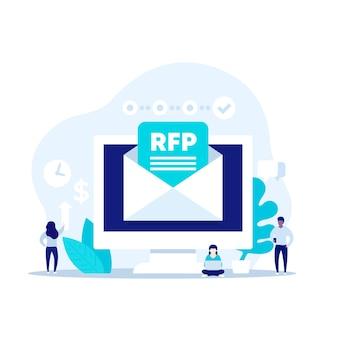 Rfp, solicitud de ilustración de vector de propuesta con personas