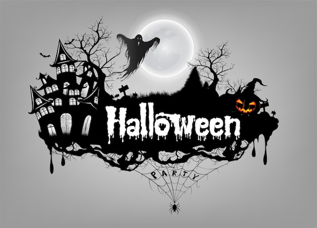 Rgb básicofeliz fondo de halloween con calabaza y fantasma